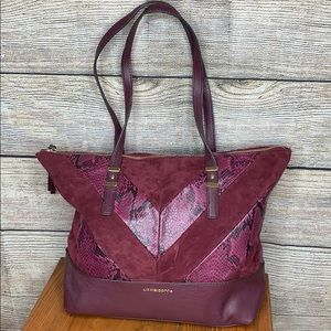 Liz Claiborne Tote Bag snake skin and Wine